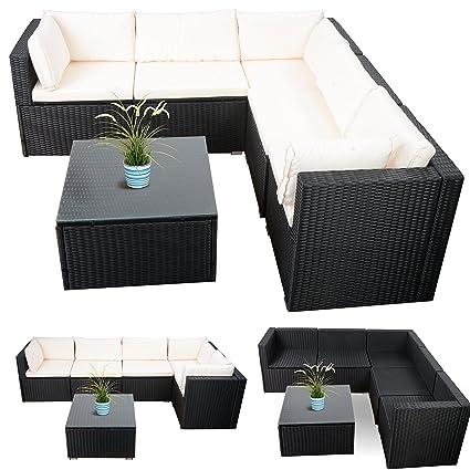 Loungemöbel Rattan Gartenmöbel Lounge Ecke Günstig Schwarz 20tlg. Inkl.  Auflagen In Weiss: Amazon.de: Garten