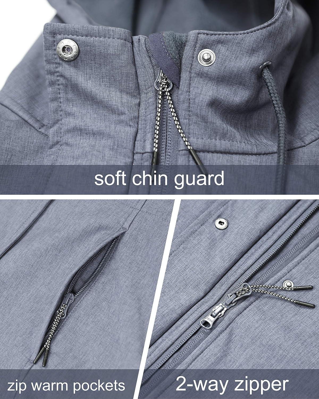 33000ft Womens Windproof Softshell Long Jacket Hood Fleece Lined Warm up Waterproof Windbreaker