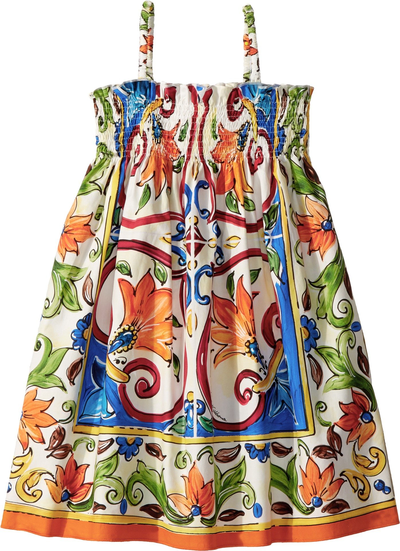 Dolce & Gabbana Kids Baby Girl's Sleeveless Dress (Toddler/Little Kids) Maiolica Print 5 by Dolce & Gabbana (Image #1)