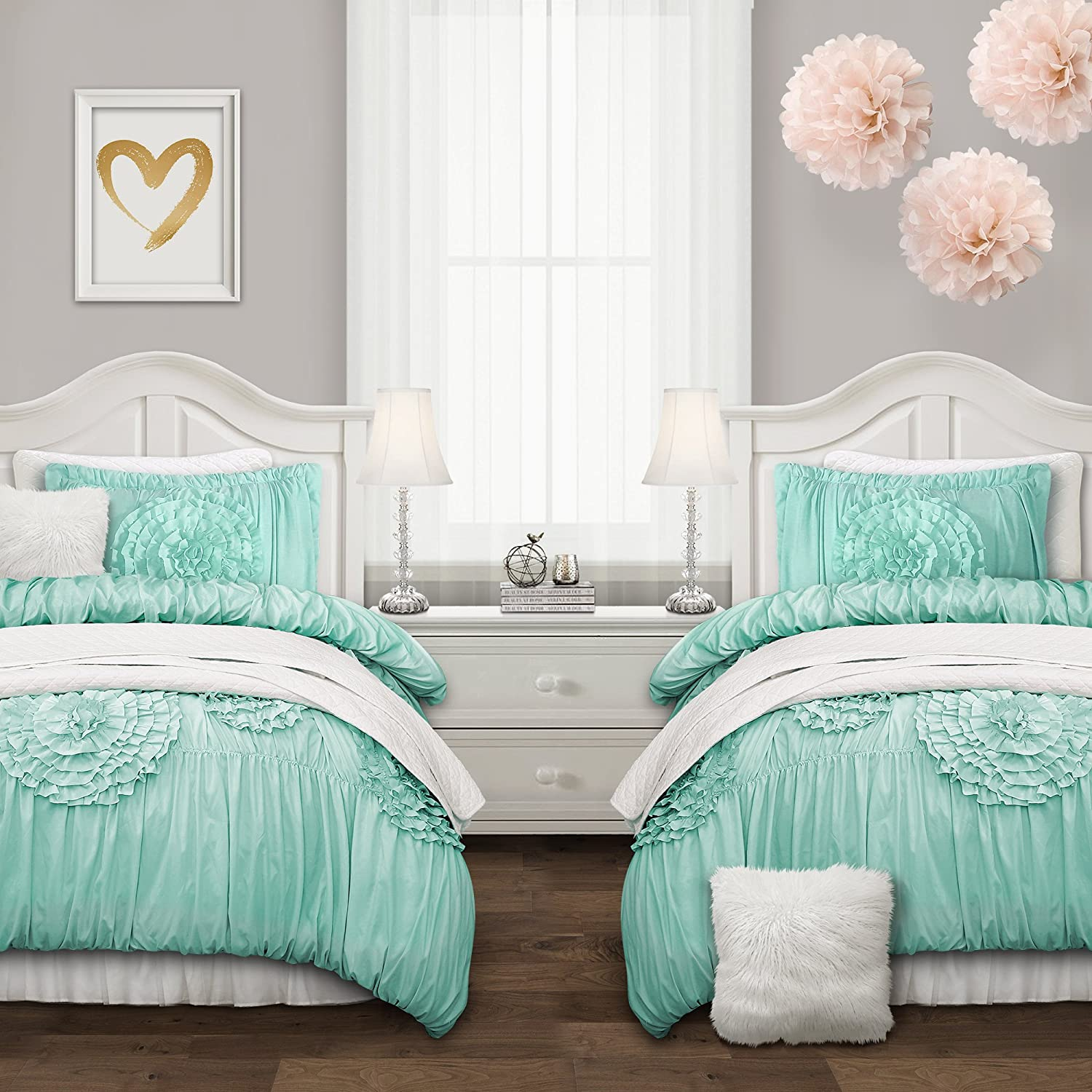 Lush Decor Serena Comforter Aqua Ruched Flower 3 Piece Set, Full/Queen