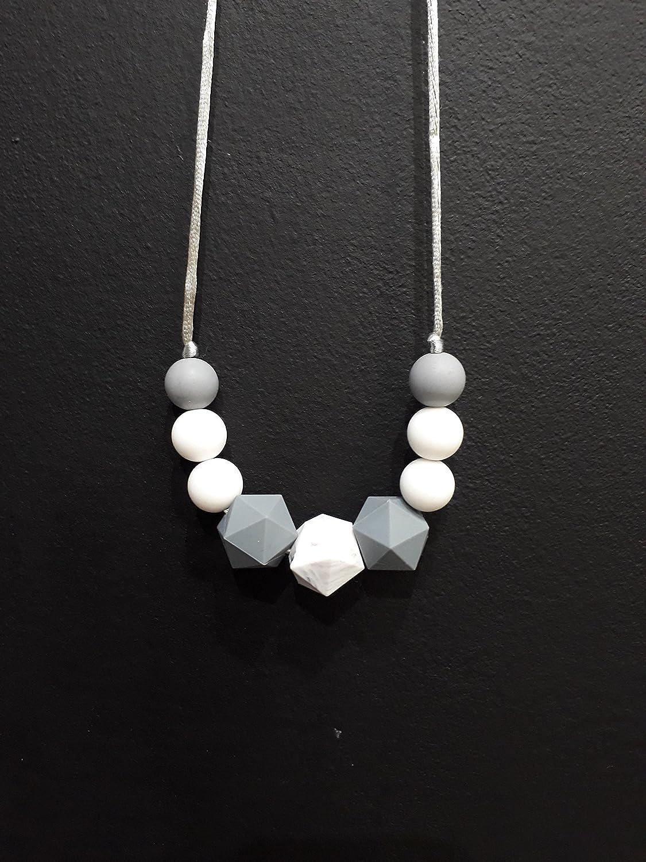 Collier de Portage et d'allaitement, anneau de dentition blanc gris et marbreBlanc