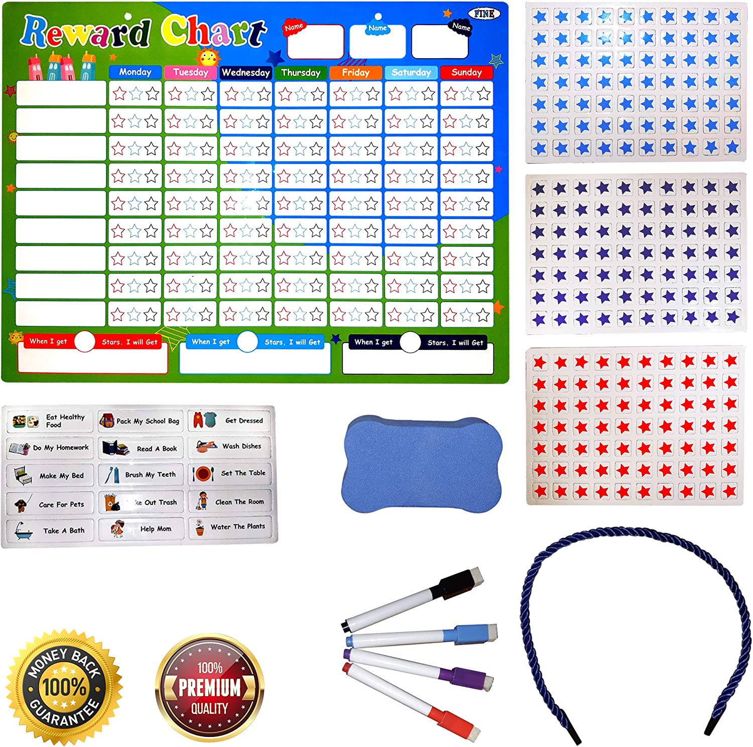 Pre Assembled Playco Magnetic Reward Chart for Kids 11 X 15.5 inches A Must Have for Your Parenting Toolkit Responsibilities Routines Behaviors Chores