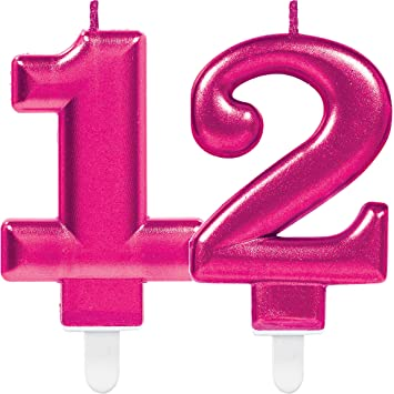 Amscan Carpeta 2 Number Candles 12 Pink 11 Cm X 9 Large Decorative Birthday Party Amazoncouk Toys Games
