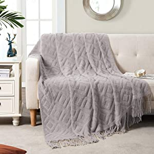 BRSnugU Throw Blanket for Couch,Warm & Cozy Fluffy Acrylic Knitted Bed Throws with Tassels for Sofa,Decor,Travel,All Seasons Suitable for Adults and Kids,50