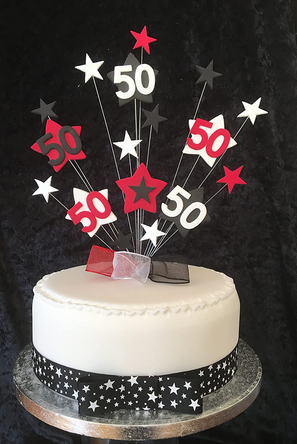 Fine 50Th Birthday Cake Topper Red Black And White Stars Plus 1 X Personalised Birthday Cards Beptaeletsinfo
