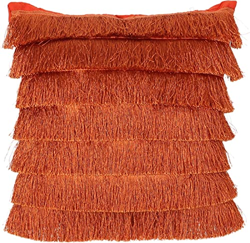 Great Deal Furniture Elvira Glam Square Fabric Pillow Cover with Fringes, Rust Orange