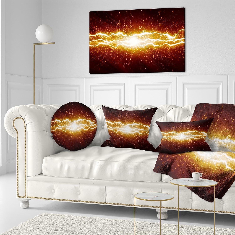 Sofa Throw Pillow 16 Designart CU6837-16-16-C Lightning on Dark Sky Contemporary Round Cushion Cover for Living Room