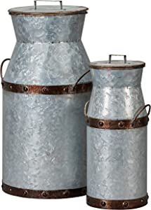 "Barnyard Designs Rustic Galvanized Milk Can Jug, Nested Milk Cans, Vintage Primitive Country Farmhouse Home Decor, Large: 8.5"" x 7.5"" x 14.5"", Small: 5"" x 4.5"" x 11"", Set of 2"