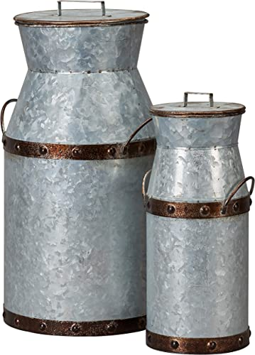 Barnyard Designs Rustic Galvanized Milk Can Jug, Nested Milk Cans, Vintage Primitive Country Farmhouse Home Decor, Large 8.5 x 7.5 x 14.5 , Small 5 x 4.5 x 11 , Set of 2