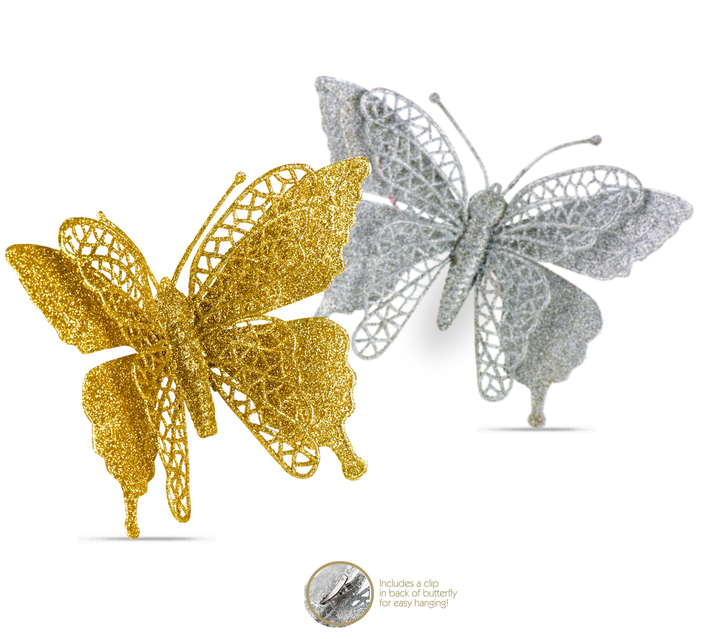 R N' D Toys Butterfly Ornaments, Shatterproof Christmas Tree Ornaments Gold and Silver, Butterfly Decoration Clips for Home, Party, Wedding, Or Holiday Décor (Gold & Silver)