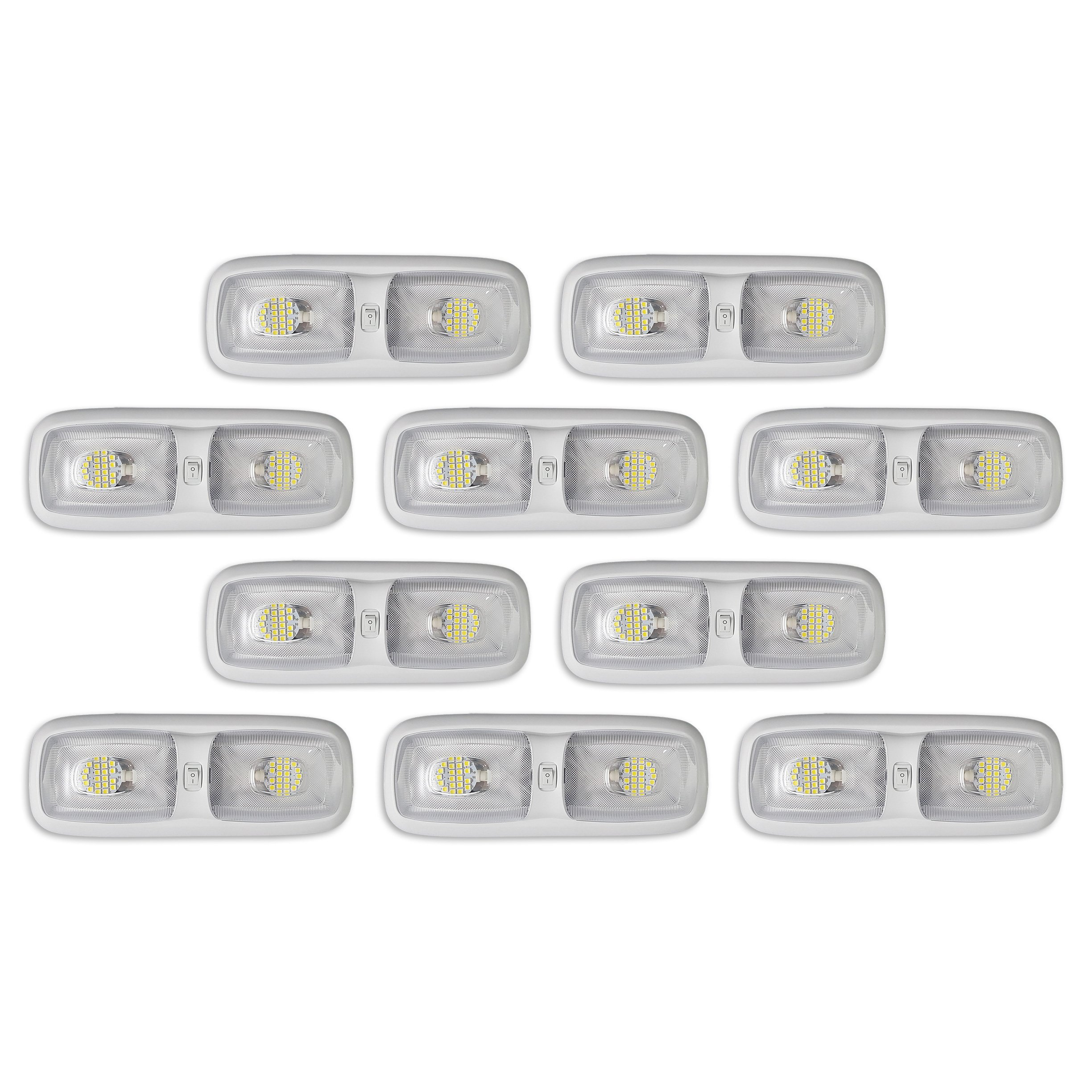 10 NEW RV LED 12v 4200K CEILING FIXTURE DOUBLE DOME PANCAKE LIGHT FOR CAMPER TRAILER RV MARINE by RecPro