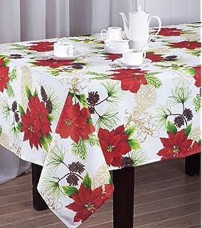 Christmas Poinsettia Floral Design Printed Holiday Tablecloth (60 X 84  Rectangular)