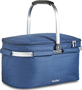 VonShef Cooler Bag Large 30L Navy Insulated Foldable, Collapsible Picnic Lunch Keep Cool Outdoor Travel Cooler