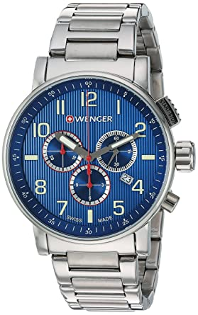 Review Wenger Men's 'Attitude Chrono' Swiss Quartz Stainless Steel and Leather Casual Watch