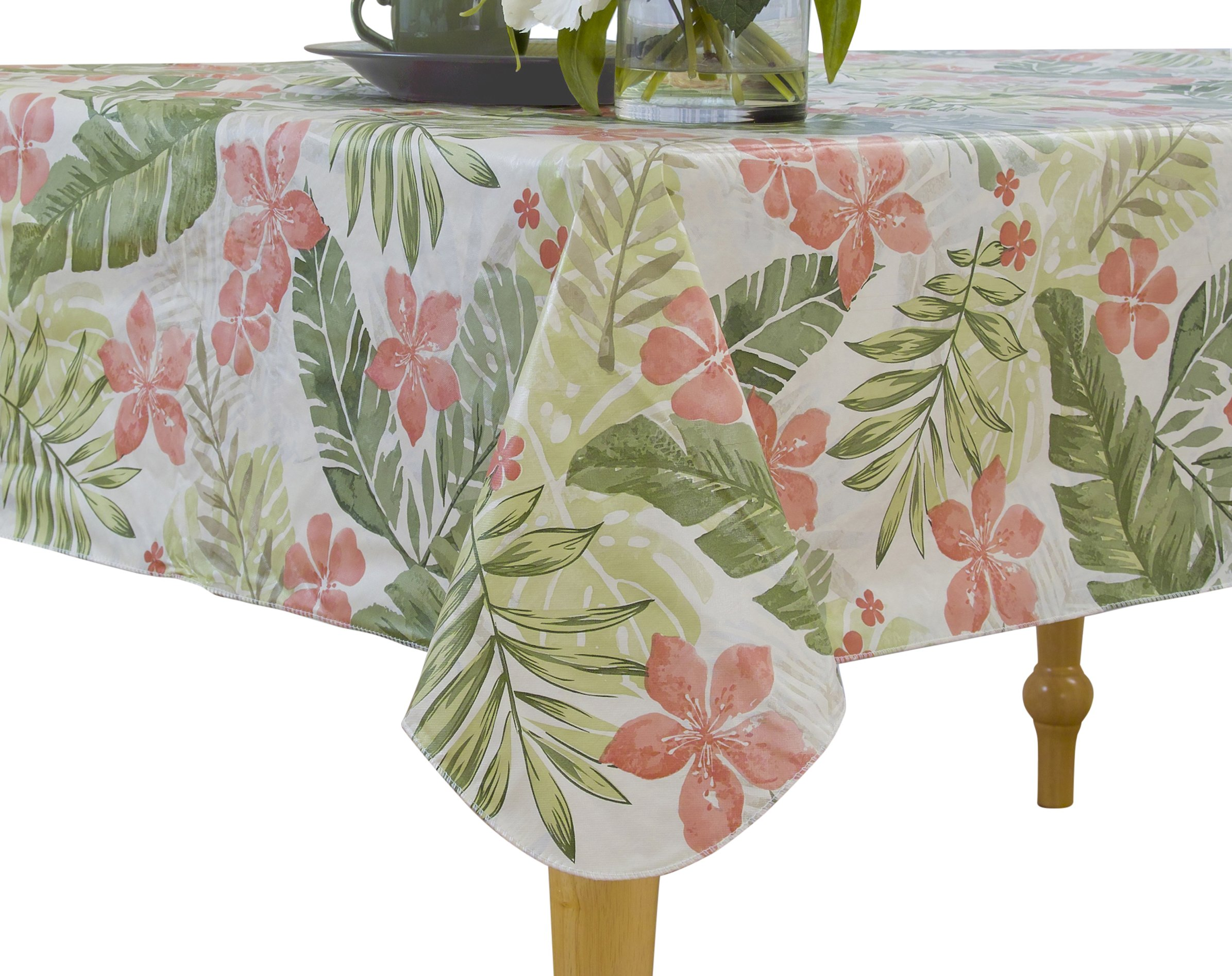 Elrene Home Fashions Vinyl Tablecloth with Polyester Flannel Backing Tropical Leaf Easy Care Spillproof, 70'' RD BBQ, Green