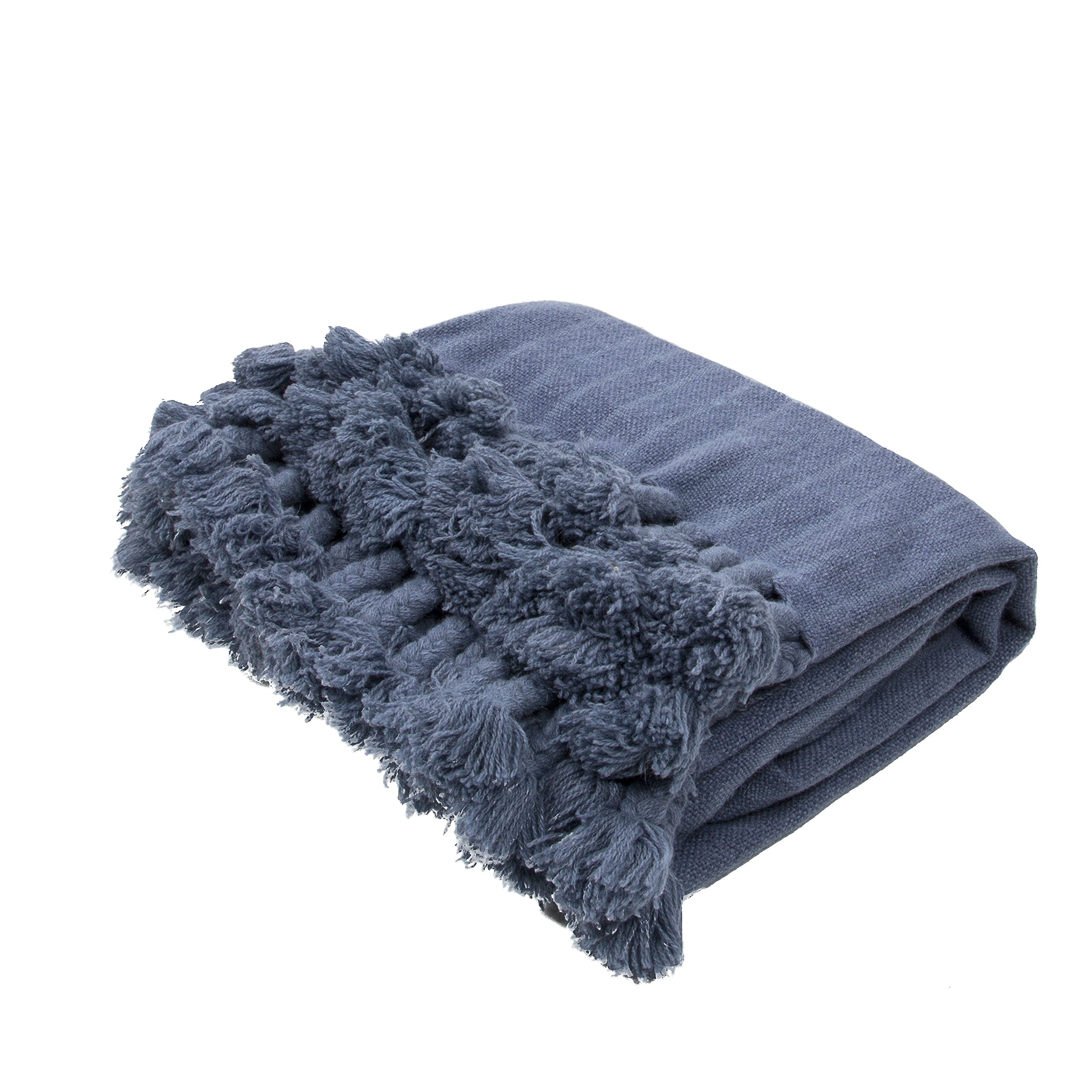 Jaipur Soft Hand Solid Pattern Blue Wool Throw, 50-Inch x 60-Inch, Bering Sea Native-1