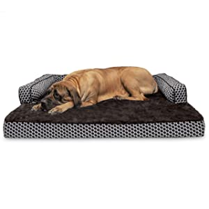 Furhaven Pet Dog Bed | Orthopedic Plush Faux Fur & Décor Comfy Couch Traditional Sofa-Style Living Room Couch Pet Bed w/Removable Cover for Dogs & Cats, Diamond Brown, Jumbo Plus