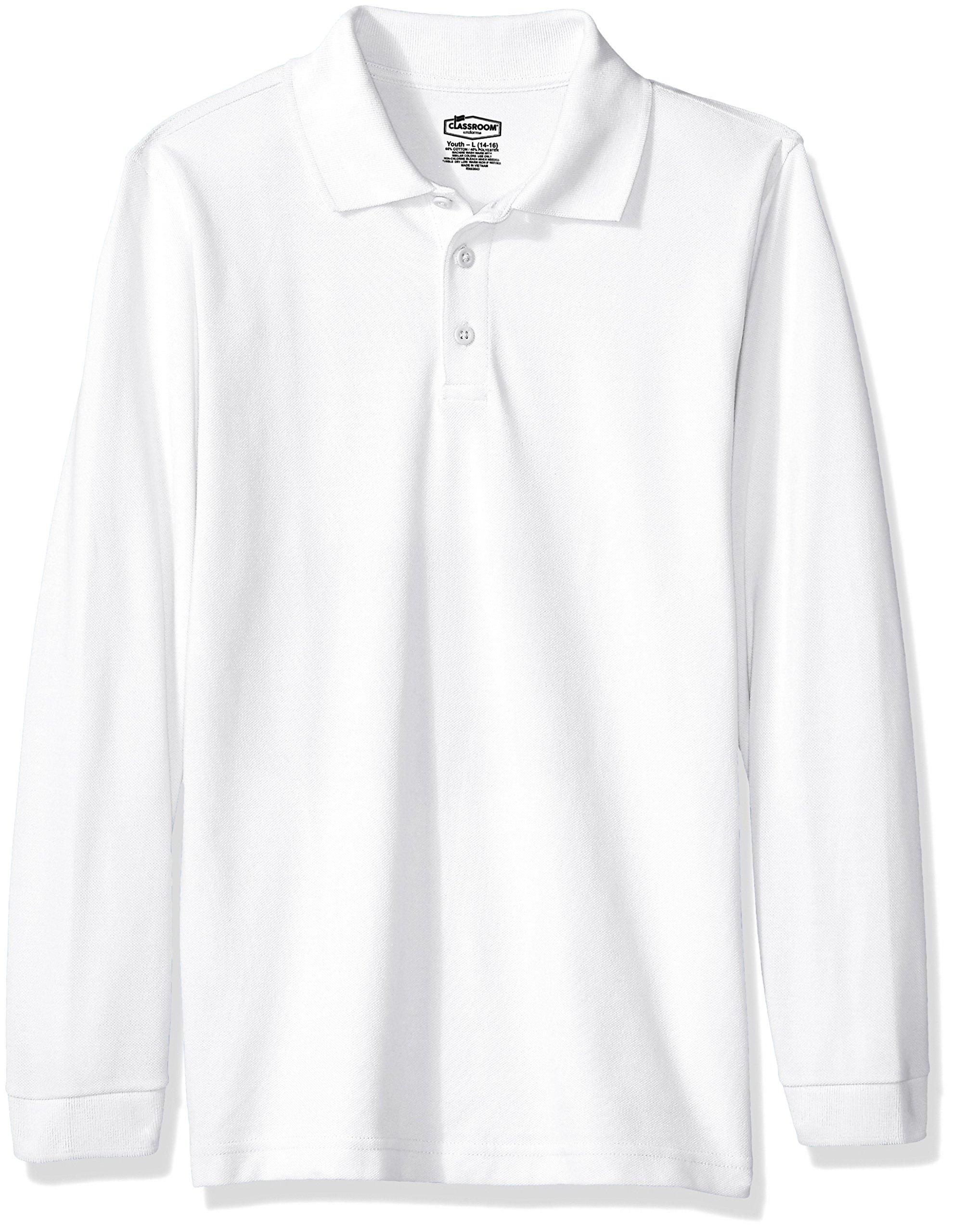 Classroom Big Kids Boys' Uniform Long Sleeve Pique Polo, Sos White, L