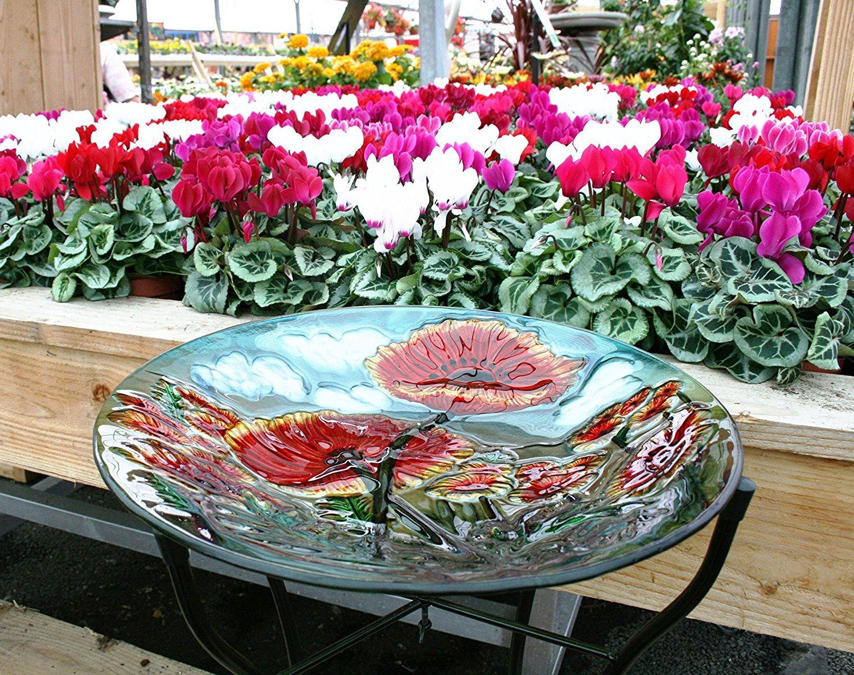 Bassin pour oiseaux en verre peint à la main Motif coquelicot Résistant aux UV et aux intempéries Smart Garden