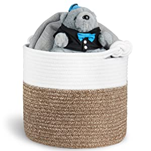 "Polarduck Cotton Rope Basket 13"" x 12"" x 11"", Baby Laundry Basket, Laundry Hamper, Woven Blanket Basket, Nursery Bin Organizer, Toys Storage Basket with Lucky Knots Handle, (Natural White & Jute)"