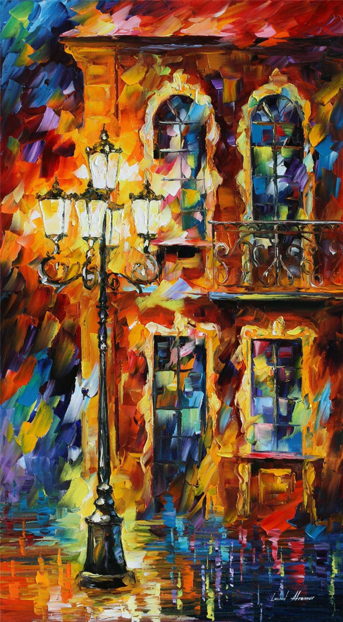 100% Hand Painted Oil Paintings Modern Abstract Oil Painting on Canvas Buildings under Street Lights Home Wall Decor (24X44 Inch, Oil Painting 2) by Bingo Arts