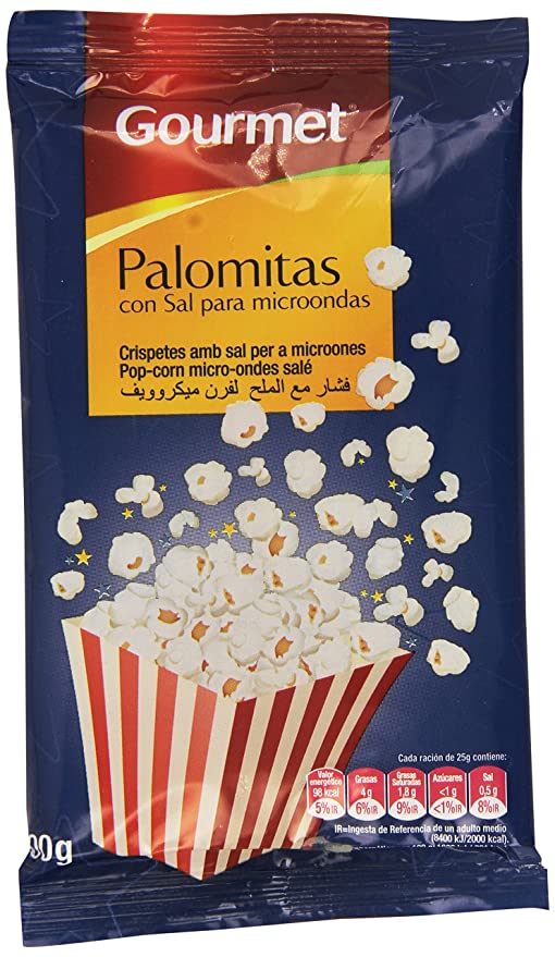 Gourmet - Palomitas con sal para microondas - 100 g: Amazon ...
