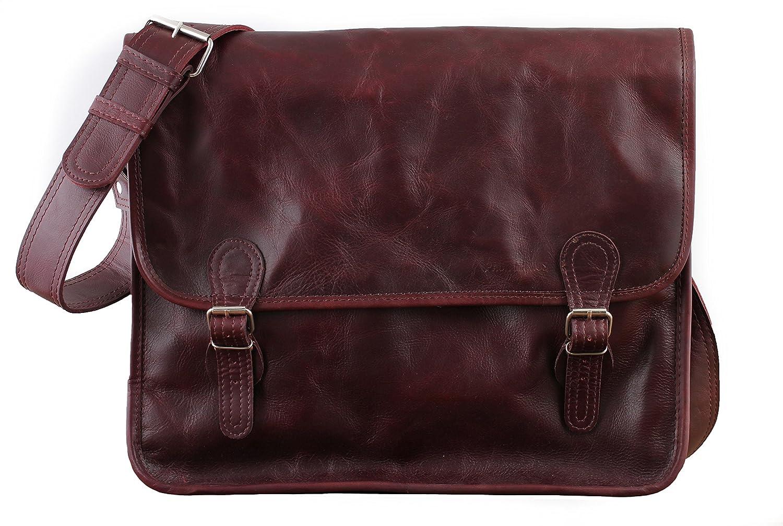 Paul Marius LA SACOCHE (L) cuir couleur Brun d'automne besace en cuir souple format A4 style Vintage