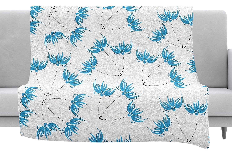 40 x 30 Fleece Blanket Kess InHouse Maria Bazarova Flower Centaur 2 Blue Digital Throw