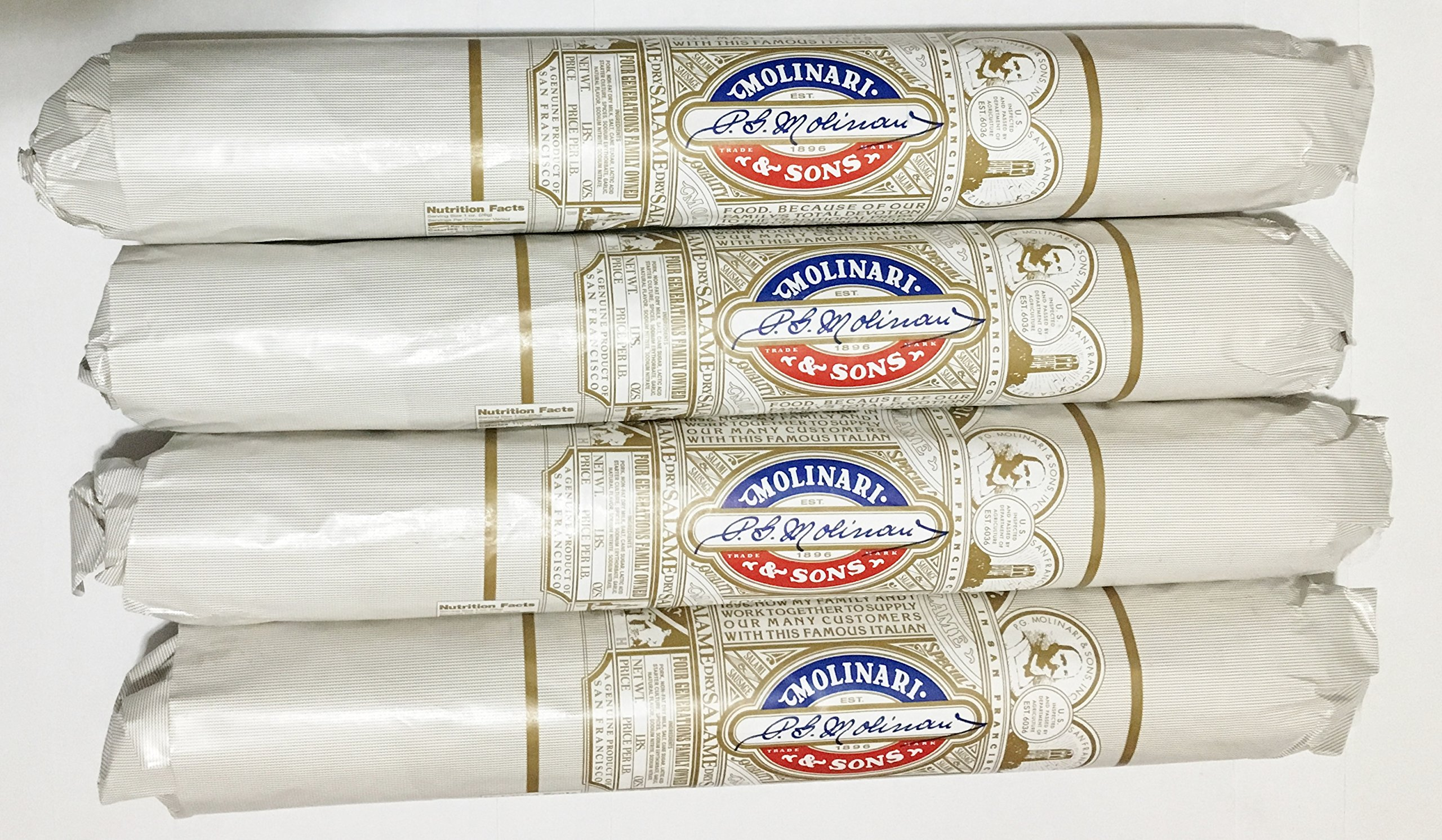 Molinari & Sons San Francisco Italian Dry Salami 3lb Stick Molded Paper Wrapped (Pack of 4) by Molinari & Sons