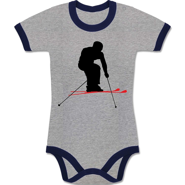 Sport Baby - Skifahren Urlaub - zweifarbiger Baby Strampler für Jungen und Mädchen