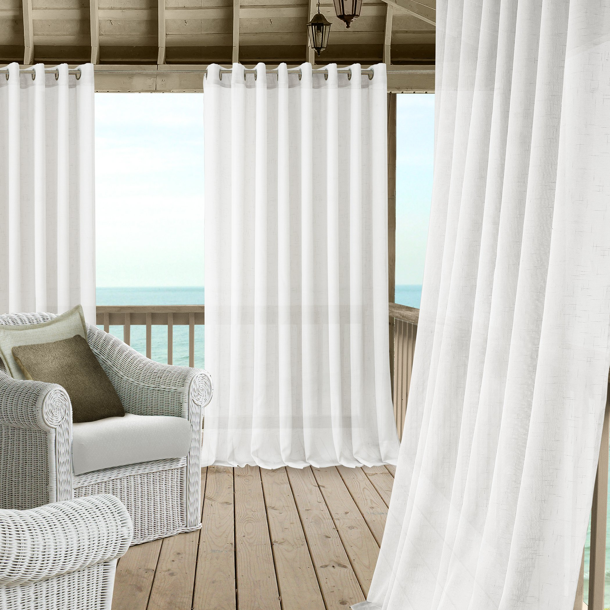 Carmen Sheer Extra Wide Indoor/Outdoor Grommet Top Single Panel Window Curtain Drape/Curtain Patio, Gazebo and Pergola Panel Includes 1 tieback, 114 Inch Wide X 108 Inch Long, White