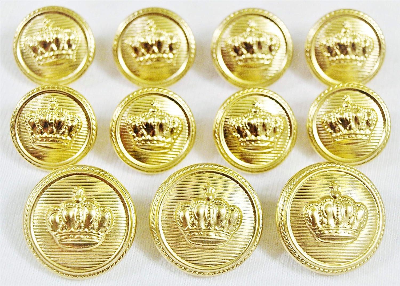 YaHoGa 14 Piezas Dorado Botones Metalicos 20mm 15mm Botones para Trajes Chaquetas Abrigos Uniforme