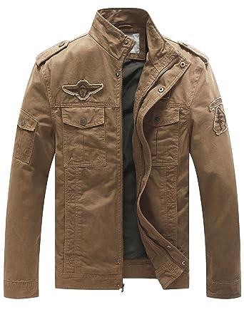 WenVen Men's Fashion Cotton Jackets (Khaki, US Size ...