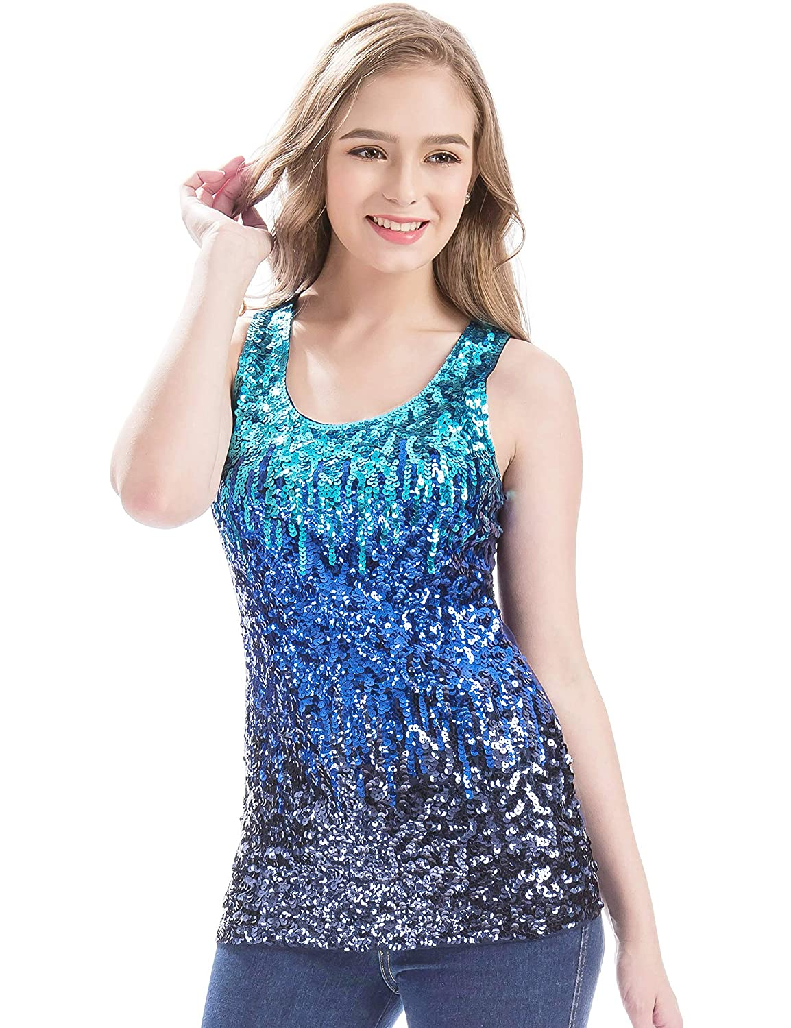 Mermaid Women's Sparkle Gradient Blue Sequin Front Embellished Tank Top - DeluxeAdultCostumes.com