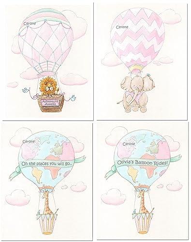 Set of 3 prints Hot air balloon wall art Pink girls nursery print Kid bedroom decor Dream big little one print Girls baby shower gift