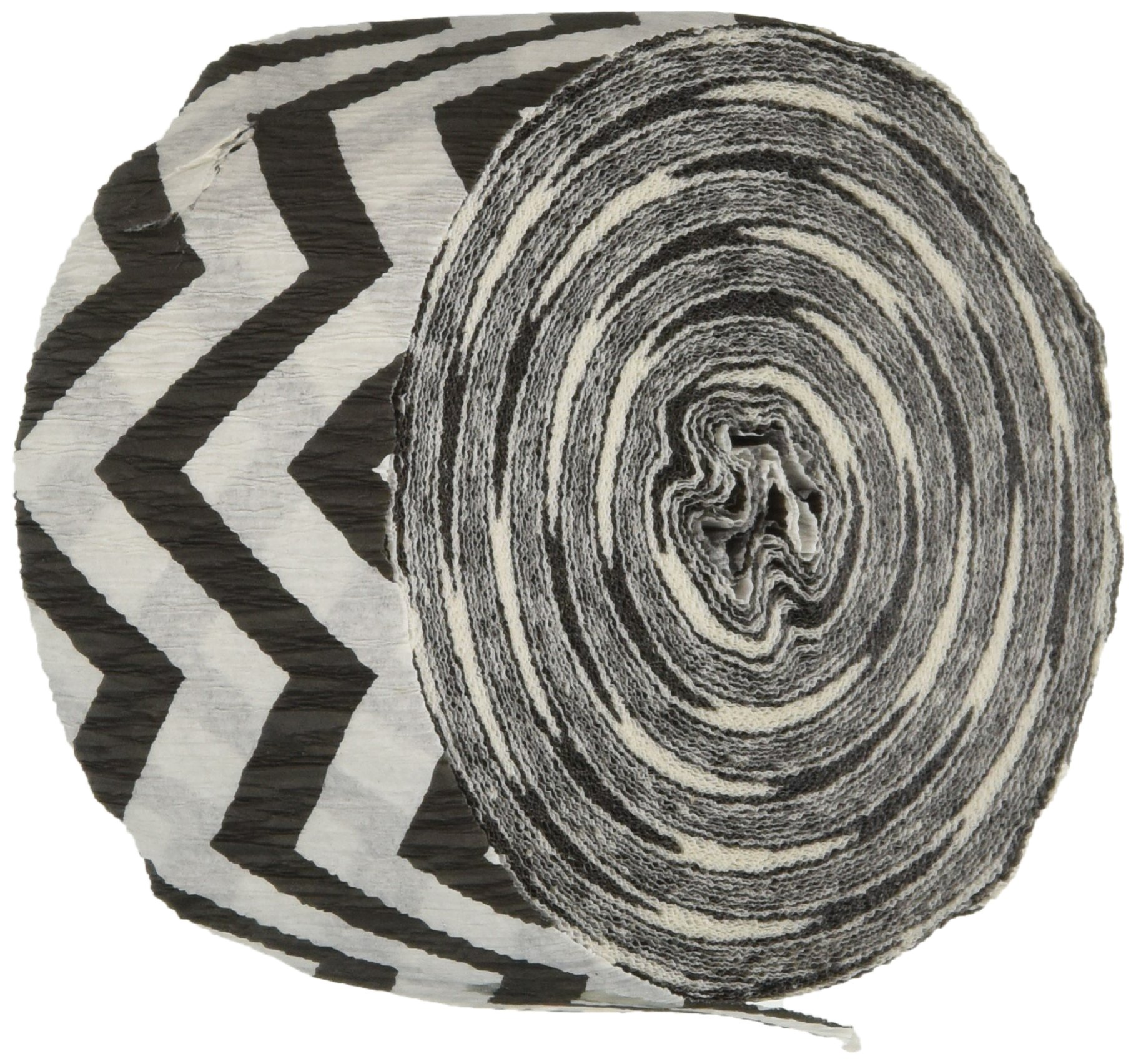 Amscan Fun-Filled Chevron Crepe Streamer Childrens Party (24 Piece), Black and White, 81'