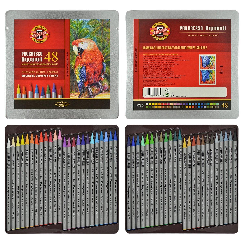 KOH-I-NOOR Artist's Set of Progresso 48 Aquarell Woodless Coloured Pencils 8786 + 2xEraser + Sharpener