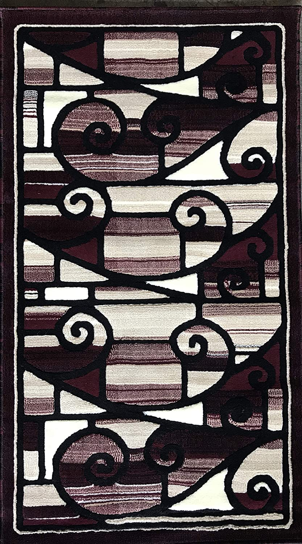 アメリカーナ モダン ロング ランナー エリアラグ ブラウン デザイン 110 (81.28cm X 38.10cm) 32 Inch X 56 Inch 32 Inch X 56 Inch Burgundy #110 B07GC41ZPV