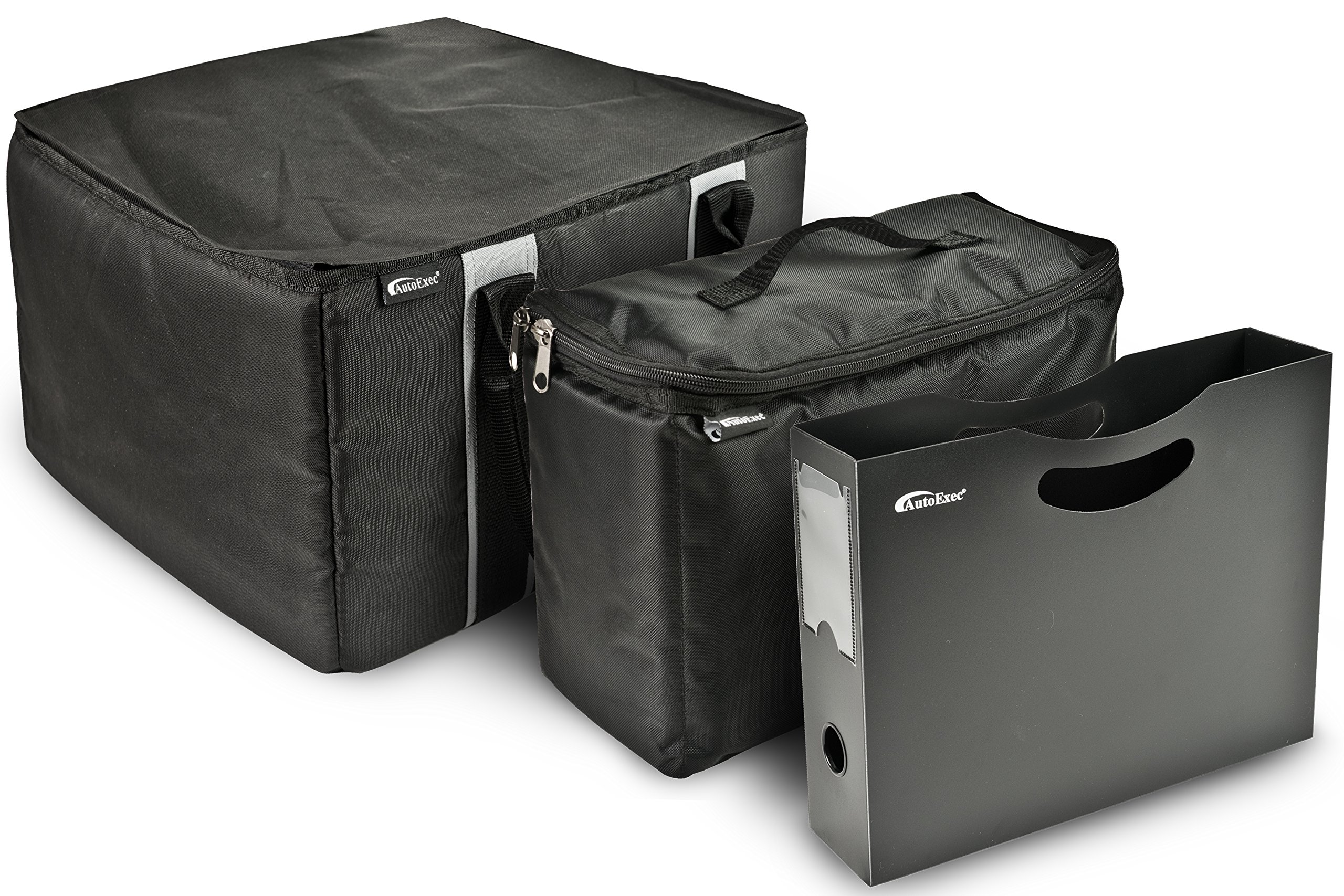 AutoExec AETote-08 Black/Grey File Tote with One Cooler and One Hanging File Holder