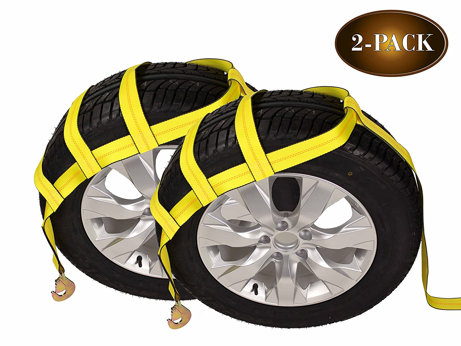 Car Wheel Straps for Auto Hauling DC Cargo Mall Tow Dolly Basket Straps with Twisted Snap Hooks 2-Pack