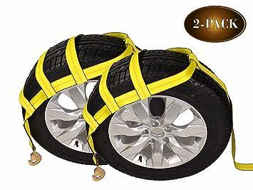 Amazon.es: Remolque Dolly cesta (trenzado correas con ganchos | 2-Pack | rueda de coche de correas para Auto transporte por DC carga Mall
