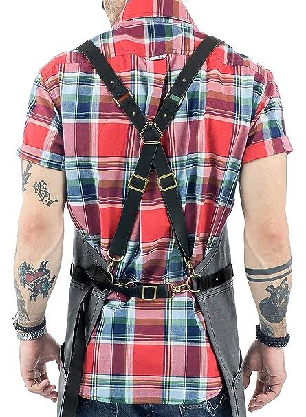 d567471a616 Amazon.com: Under NY Sky Cargo Gray Apron – Cross-Back with Leather ...