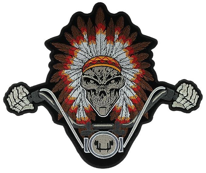 Nativo americano Jefe vestido calavera Biker gran espalda parche ...