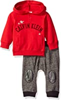 Calvin Klein Baby Boys' Solid Hooded Pullover With Patched Pants Set