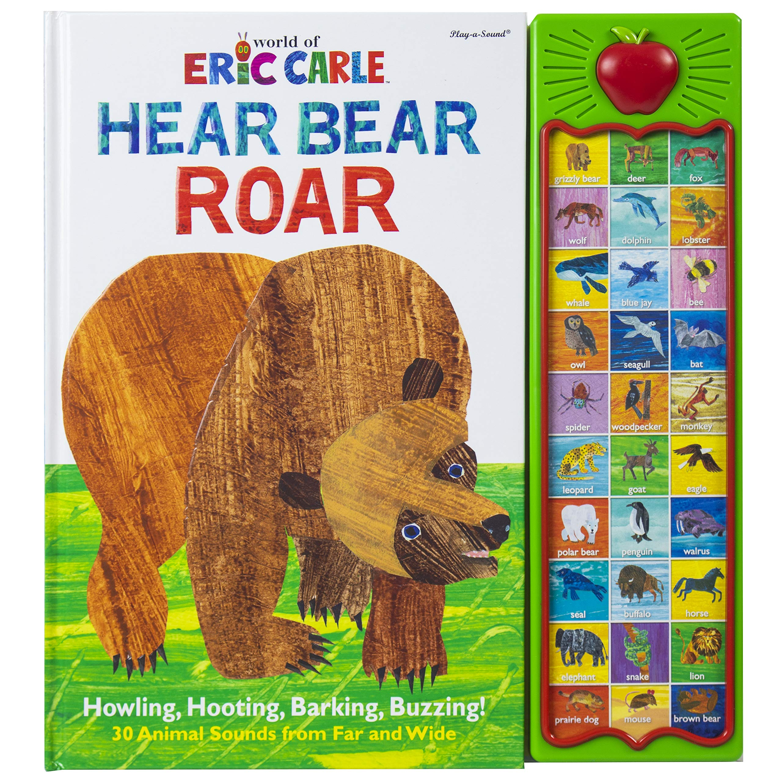 World of Eric Carle, Hear Bear Roar 30-Button Animal Sound Book – Great for First Words – PI Kids