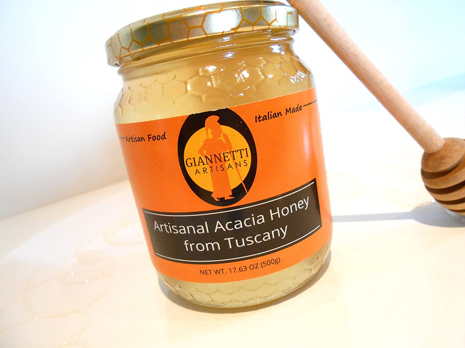 Giannetti Artisans Imported Premium Italian Acacia Honey - Unprocessed Naturally Handmade in Italy - 17.63 oz