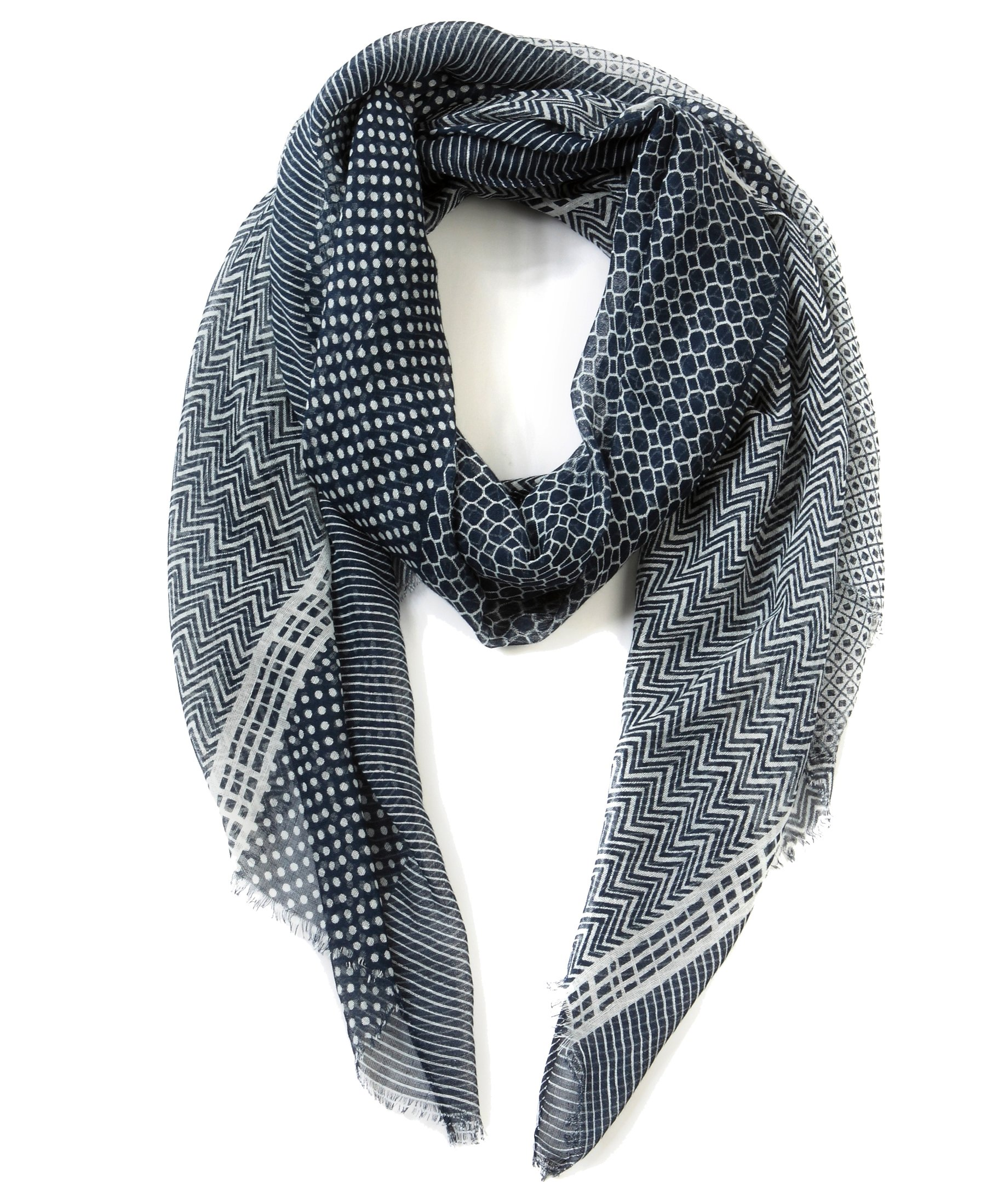 EUPHIE YING Women's Classy Scarves Fashion Soft Shawl Wrap, Print Navy