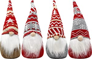 "JOYIN 4 Pcs Red and Grey Patterns 12"" Gnome Christmas Decorations for Christmas Tabletop Decor, Table Holiday Decorations"