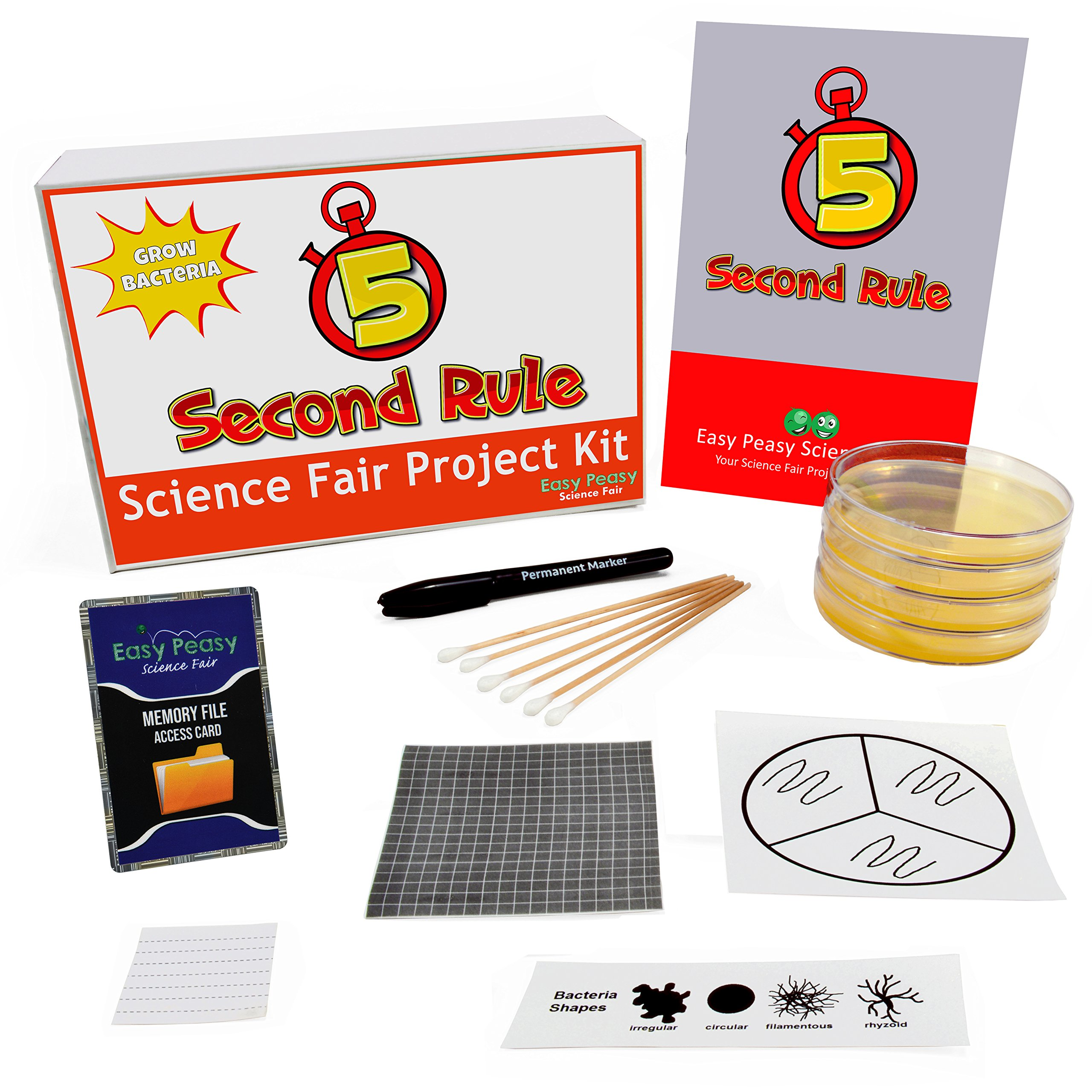 The 5 Second Rule Science Fair Project Kit - Grow Bacteria - Top Science Learning Kit