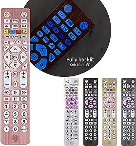 GE Backlit Universal Remote Control for Samsung, Vizio, LG, Sony, Sharp, Roku, Apple TV, RCA, Panasonic, Smart TV, Streaming Players, Blu-Ray, DVD, Simple Setup, 6-Device, Rose, 47505